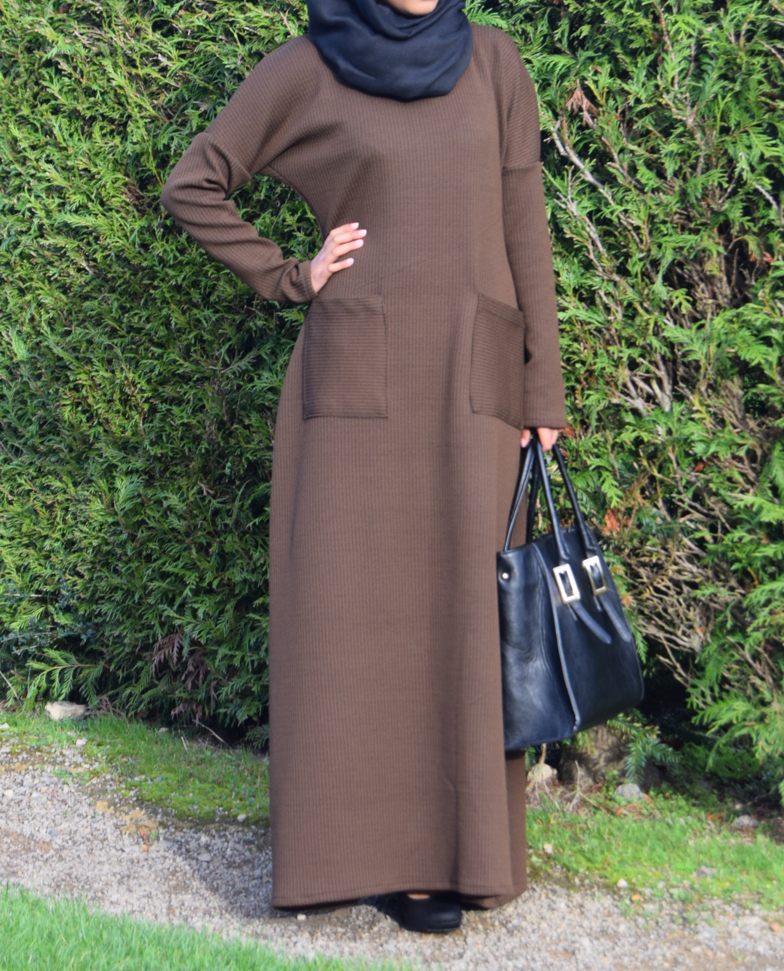 7109071cb8e298 Brown Jumper Abaya – Shabina B